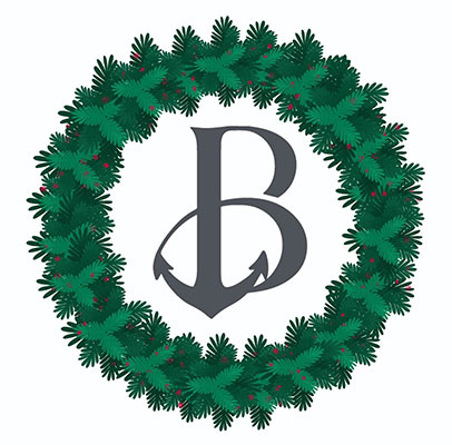wreath around Beaufort Inn logo