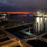 view of the marina from Beaufort Inn at night
